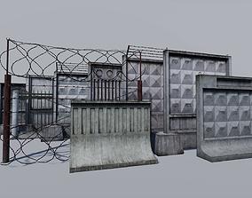 Modular concrete and metallic fences pack 3D asset
