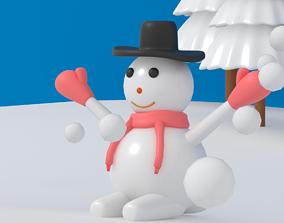 Cartoon Snowman 3D model low-poly