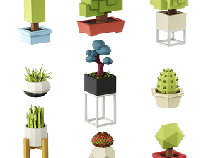 3D model Low poly plants set