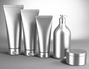 Cosmetic Bottle and Tube Set 3D model