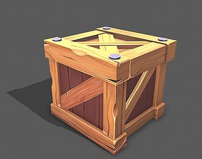 Stylized wood box 3D model