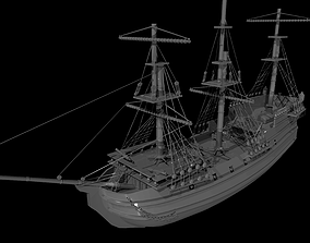 Ship model 3D asset game-ready