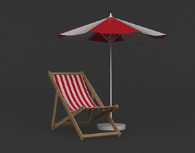 chair 3D model Beach Umbrella and Chair