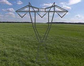3D asset Hydro Quebec 735kv high voltage pole low poly
