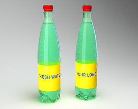 vray Bottle with water and droplets Vray 3d max
