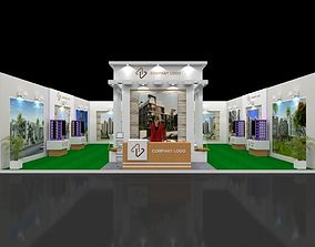 Exhibition stall 3d model 10x10 mtr 1side open
