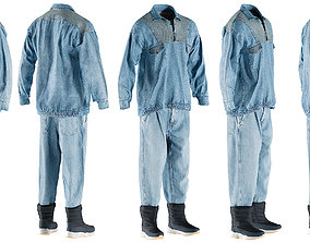 3D asset Mens Jeans Pullover Boots Tshirt 14