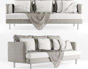 Three-seater velour sofa 3D model loft
