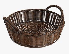 3D model Wicker basket round with handle dark brown