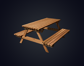 3D asset realtime Garden Bench Low Polygon