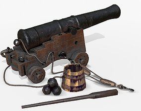 3D model Old Naval Cannon - Dark Wood