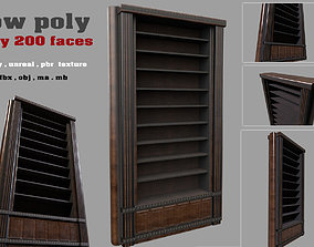 game-ready bookshelf library low poly 3d model
