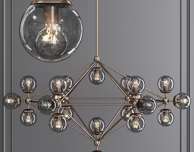 3D Modo 6 Sided Chandelier 21 Globes Bronze and Gray Glass