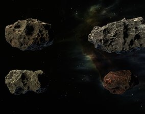animated 3D asteroids pack model
