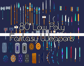 80 High Quality Low Poly Weapons Asset Pack 3D model
