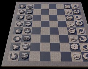 realtime Hand Made Chess Set 3D model