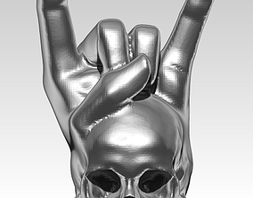 3D print model rock and roll skull pendant hand gesture 1