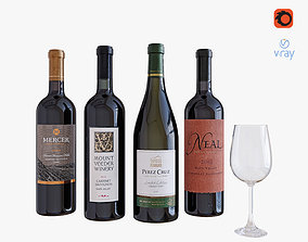 Wine bottle set 5 3D
