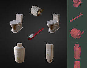 Low Poly Bathroom Items 3D model