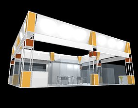 animated exhibition stall design 4 side open Low-poly 3D