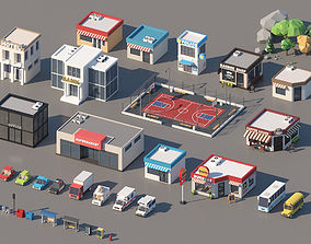 3D model low-poly Low Poly City Pack