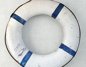 3D model Blue and White Life Preserver
