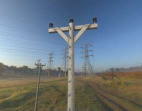 Wood Electricity Poles With Ladder - Object 3D model