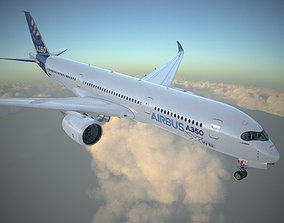 Airbus A350 900 with interior 3D