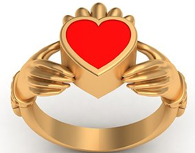 Claddagh Celt Heart Love Enamel Gold 3D printable model 1