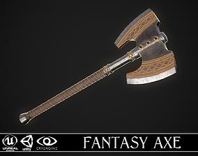 3D model VR / AR ready Fantasy Axe 2D