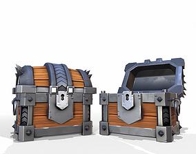 Sturdy Toon Reinforced Treasure Chest - PBR 3D model