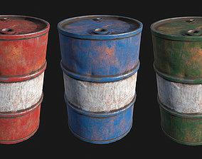 Low Poly PBR Metal Barrels 3D asset