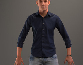 Rigged 3D boy with realistic hair in casual rigged