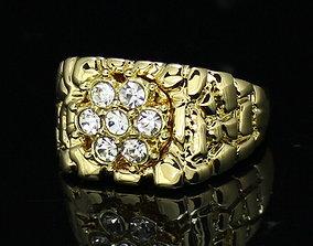 3D printable model Gents Diamond Nugget Ring 29