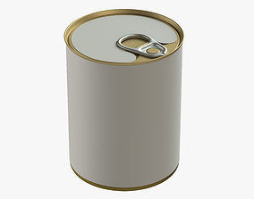 3D model canned food round tin metal aluminium can 06