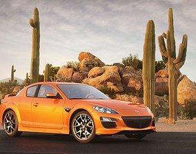 Orange Mazda Rx 8 In Desert 3D