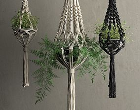 Macrame Hanging Pots with Plants 3D model leaf