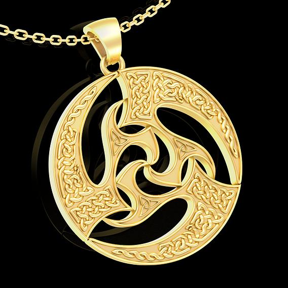 Celtic Patterns Pendant jewelry Gold 3D print