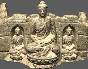 3D model Ancient Chinese Buddha statue Western Regions