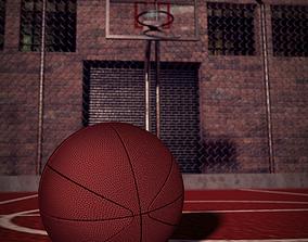 Basketball Field and Ball 3D asset