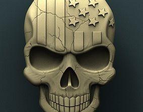 American skull 3d stl model for cnc 3D print model