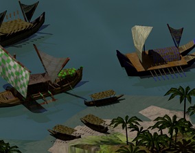 3D asset rigged Tribal Boats and Vessels
