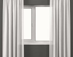 3D White tulle curtains