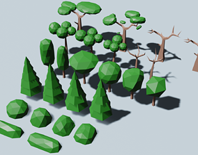3D model Trees and bushes