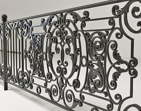 Forged fence 3D model architectural