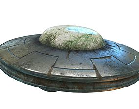 Low Poly Animated UFO With PBR Material 3D model