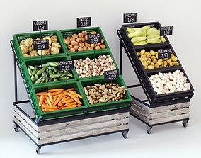 photorealistic Vegetable display racks 3D