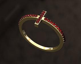 3D print model Cross Ruby Ring