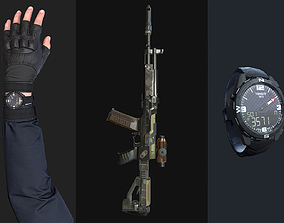 3D model FPS Commando with Arm and Hand and Weapon and 1