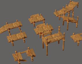 Toon Wooden Bridge Full Pack 3D model realtime